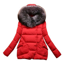 2017 Women Full Sleeve Covered Button with Pockets Parka Coat Women Cotton Winter Jackets Hat with