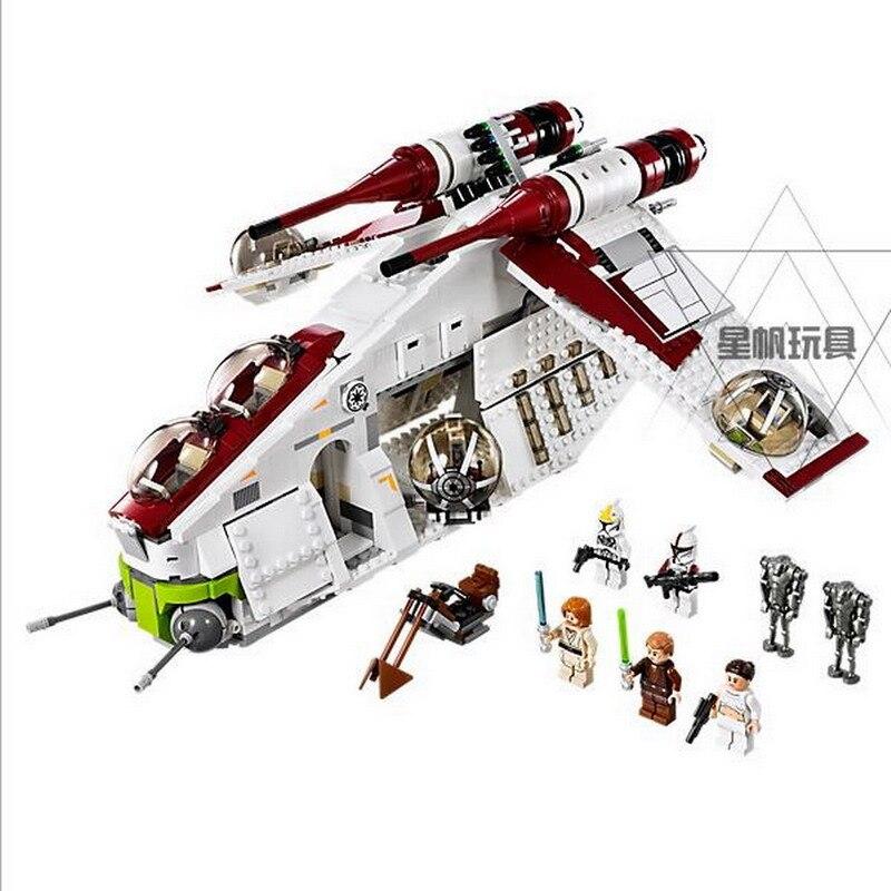 05041 LEPIN 1175Pcs Star Wars The Republic Gunship Model Building Blocks Enlighten DIY Figure Toys For Children Compatible Legoe цена