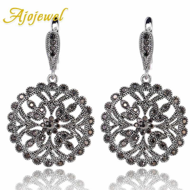 Ajojewel High Quality Black Crystal Rhinestone Drop Earrings Big Round Vintage Earrings Fo