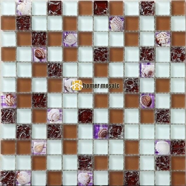 US $211.59 8% OFF|Braun kristallglas gemischt muschel mosaik fliesen  EHGM1053C für küche backsplash badezimmer dusche esszimmer wand fliesen  mosaik in ...