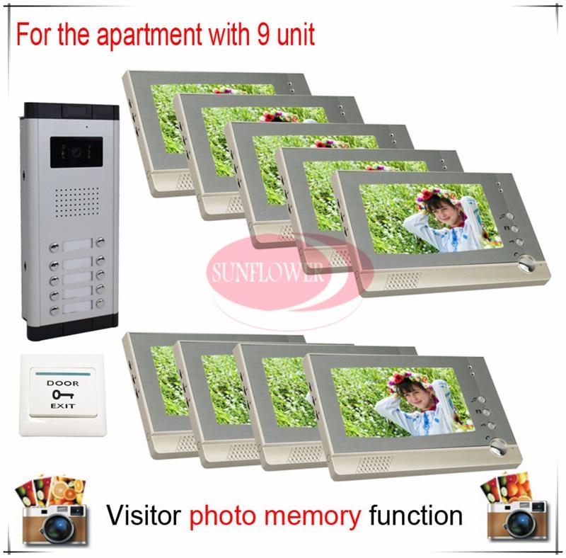 Nine 9 Units Apartment Building Color Video Door Phone Intercom – Intercom Wiring Diagram Of Unit 10
