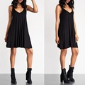 New Woman Shoulder Strap Scoop Neck Pleated Back A-line Flared Skater Dress Casual Little Black Sexy Fashion Dresses