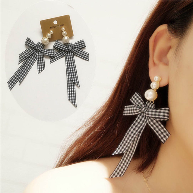 Fashion Jewelry Lattice Cloth Ribbon Bow Earrings Personality Imitation Pearls Charm Statement Earring Boucles D