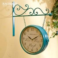 Rui Shikai poem Vintage American double wall clock style living room bedroom decorative wrought iron clock