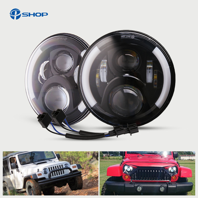 Pair of 50W 7 Inch LED Headlight H4 H13 Hi-Lo with Halo DRL Light for Lada 4x4 urban Niva Hummer Jeep JK Haley HeadLamp
