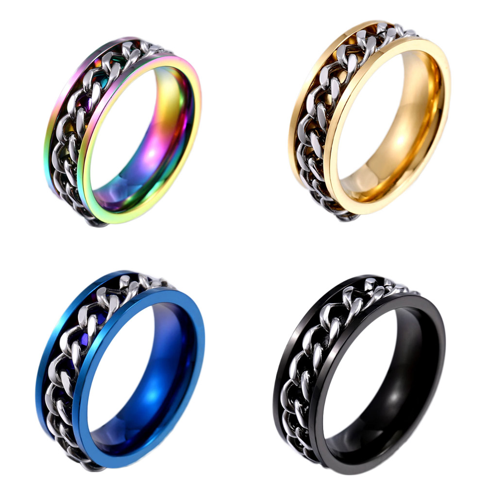 1Pcs Stainless Steel ring for men/women New Part Plated Gold Color/Black Color Mans Cool Spin Chain Ring