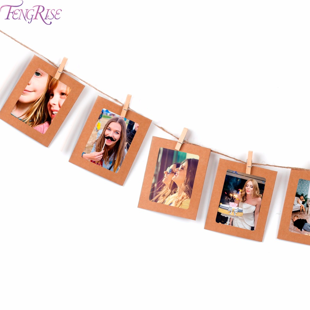 FENGRISE 10pcs 12x10cm DIY Wall Photo Frame Set Vintage Picture Frame With Clips and String Wedding Decoration Valentine Gift