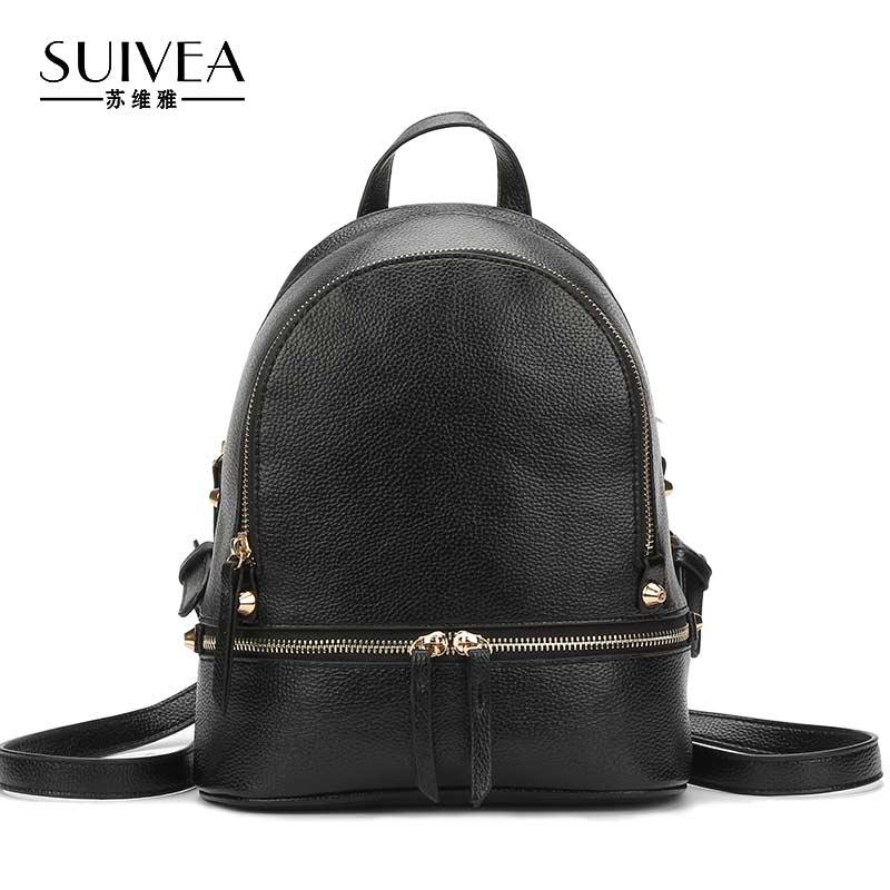 SUIVEA Travel Bagpack PU Leather Women Backpack Mochilas Japan Girls Travel Bagpack Female bag Korea Teenage
