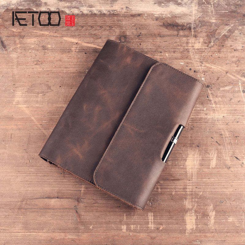 AETOO Original Retro Handmade Leather organizer wallet Leather Notebook A5 Living Sheet Notebook Stationery Diary Customization freeshipping retro handmade stitching binding cloth covered notebook chinese style lotus printing notebook
