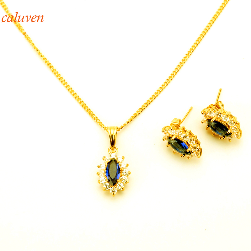 Gold Color Jewelry sets for Women Necklace Earrings Bracelet Wedding Birthday Party Gift Color Stone