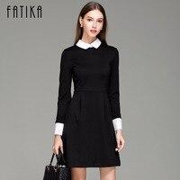 FATIKA Mode Herfst Winter vrouwen Elegante Toevallige Slanke Peter pan Kraag Kraag Lange Mouwen Zwarte Jurken voor Vrouwen