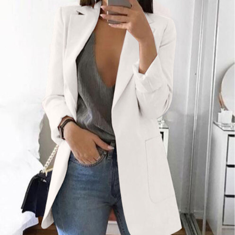 Autumn Office Lady Long Slim Blazers Suit Women White Notched Blazer Coat Casual Elegant Long Sleeve Female Business Suit 2019