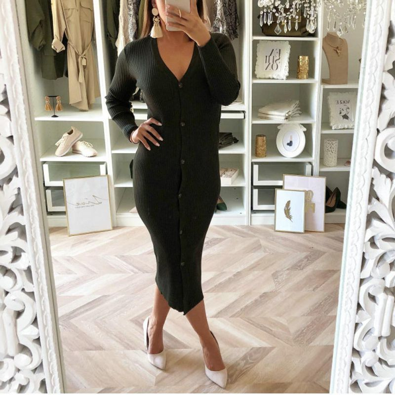 Long Sleeve Knitted <font><b>Sexy</b></font> Bodycon <font><b>Dress</b></font> <font><b>Autumn</b></font> <font><b>Winter</b></font> Sheath Knitted <font><b>Dresses</b></font> <font><b>Women</b></font> <font><b>Casual</b></font> <font><b>Dress</b></font> vestidos <font><b>Women</b></font> image