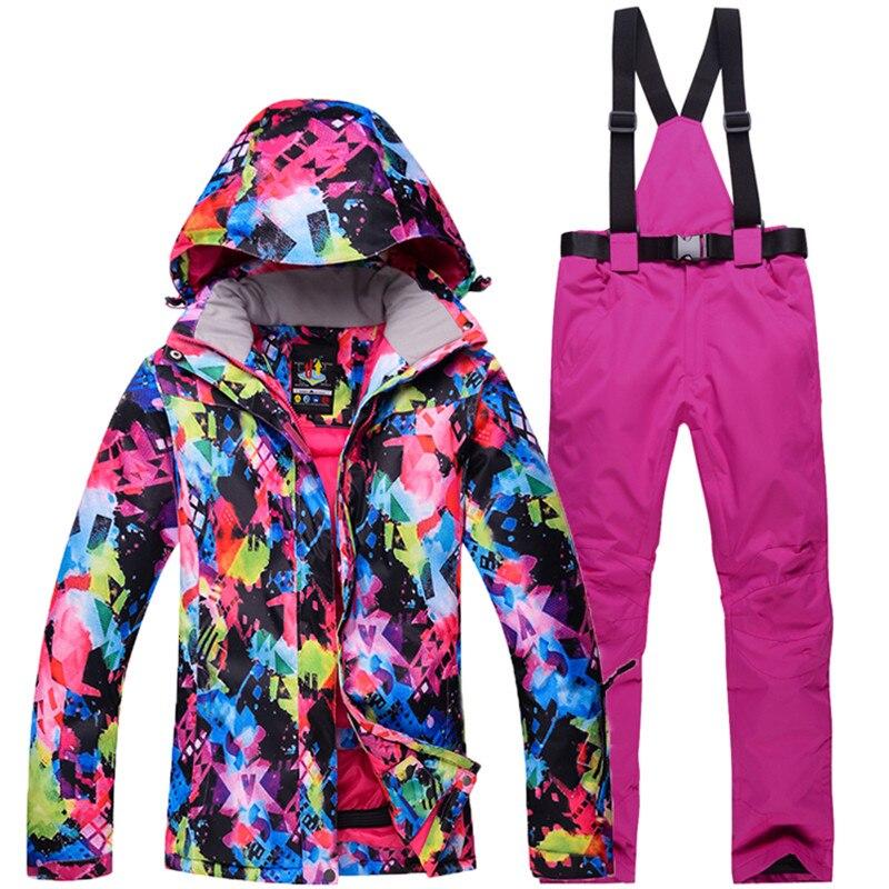 Haute qualité-30 veste de Ski ouverte pour les femmes combinaisons de Ski veste de Ski et pantalon snowboard costumes de manteau imperméable coupe-vent