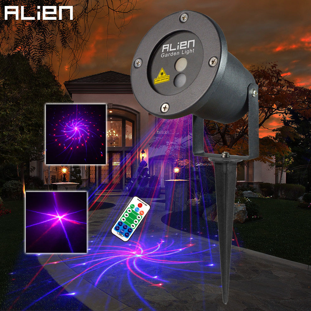 ALIEN Remote Control Red Blue 12 Patterns Laser Landscape Lighting Xmas Tree Waterproof RB Outdoor Garden Projector Lights agness кухонная утварь rosita 2900 мл