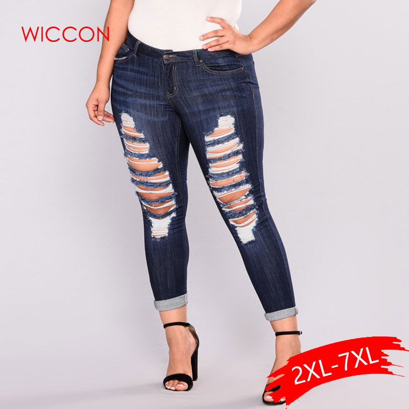 Skinny Jeans Women Plus Denim Holes Destroyed Knee Pencil Casual Hole High Waist Trousers Stretch Ripped Jeans Plus Size