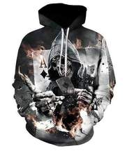 YFFUSHI 2019 New 3d Hoodies Men Poker Print Skull Male Hooded Coat Hip Hop Fashion Tops 5XL Jacket