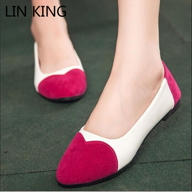 LIN KING New Patchwork Color Boat Flats Women Slip- on Pointed toe shoes for woman Flat Heel shoes Spring Autumn  2017 women lady shoes flat heel spring autumn boat pointed toe slip on casual simple mixed color pink yellow blue black red