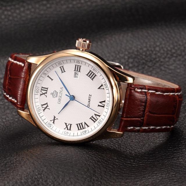 Orkina Relojes 2016 Luxury Rose Gold Men's Business Watches Auto Date Quartz Watch Men Brown Leather Fashion Dress Wrist Watch