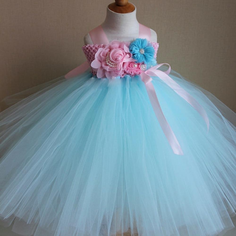 Princess Tutu Aqua Color Flower Girl tutu dress Ankle Length Bow ...