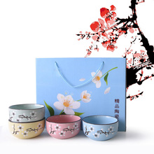 Japanese Cherry Blossoms Ceramic Bowl Set Microwave Small Classical Salad Noodle Ramen Rice Soup Bowl With Chopsticks Tableware classical cherry blossom ceramic bowl set with bamboo chopstick fruit salad rice soup ramen bowl water tea cup kitchen tableware