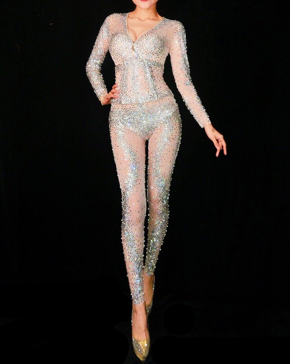 Femmes Bal D'anniversaire Costume Scintillant Bar Fête Dance De Strass 2 Salopette Performance Tenue 1 Wear Discothèque Play 3 Body Sexy Ar67Anxv