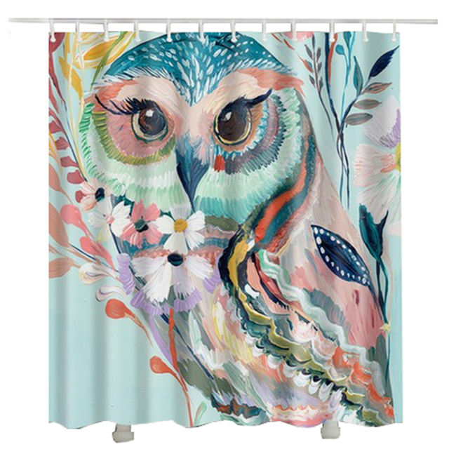 Printed Oil Painting Owl Shower Curtain Waterproof Polyester Fabric Bird For Bathroom
