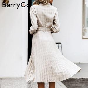 Image 5 - BerryGo Autumn winter women blazer dresses vestidos Pleated plaid long dress elegant Office ladies high waist belt female robe