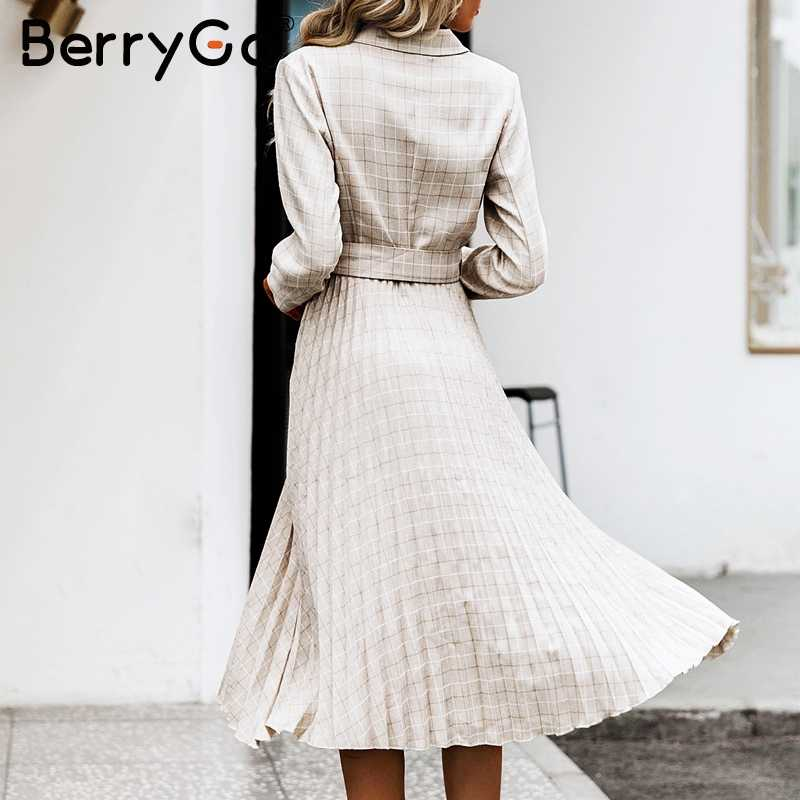 BerryGo V-образным вырезом на пуговицах ремень женское платье Элегантный блейзер плиссированные A-Line офисные женские платья с длинным рукавом