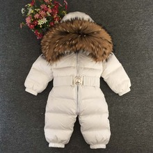 купить Mioigee Baby Jumpsuits Boys And Girls Winter Warm Overalls Baby Rompers Duck Down Jumpsuit Real Fur collar Kids Snowsuit 12M-5T по цене 4038.96 рублей