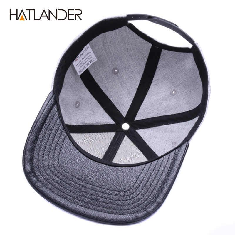 HATLANDER orijinal iskelet beyzbol şapkası ayarlanabilir erkekler şapka deri yama snapback kapaklar gorras 6 panel kemik takılı hip hop şapka