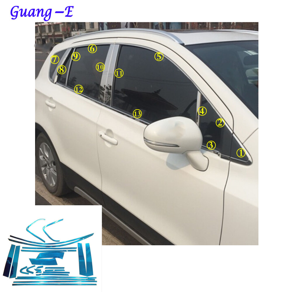 For Suzuki S-cross scross SX4 2014 2015 2016 2017 car body stainless steel glass window garnish pillar middle column trim hoods for vauxhall opel astra j 2010 2014 stainless steel window frame moulding trim center pillar protector car styling accessories