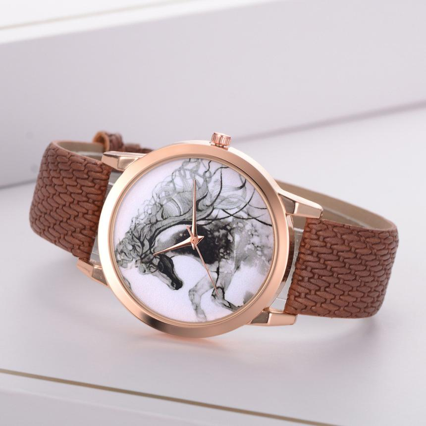 Horse Fashionable Woman Leather Souvenir Ladies WristWatch Business Beautiful Simple Temperament Clock With Time Projection #D
