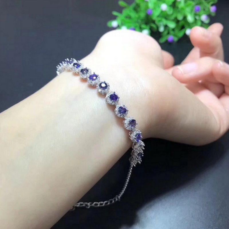 Fidelity natural 3.5mm sapphire Bracelets s925 sterling silver Exquisite fine jewelry for women party natural blue gemstone