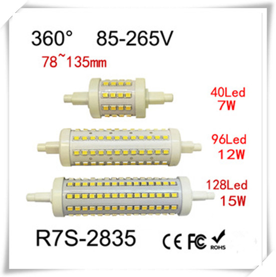 Free shipping 50pcs R7S LED Bulb7W 12W 15w SMD2835 78mm 118mm LED Lamp Bulb Light 360 Degree Halogen Lamp Floodlight AC 85-265V