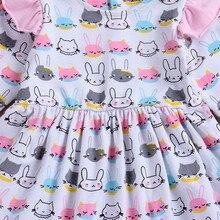 Toddler Infant Girl Rabbit Print Princess Dresses Outfits