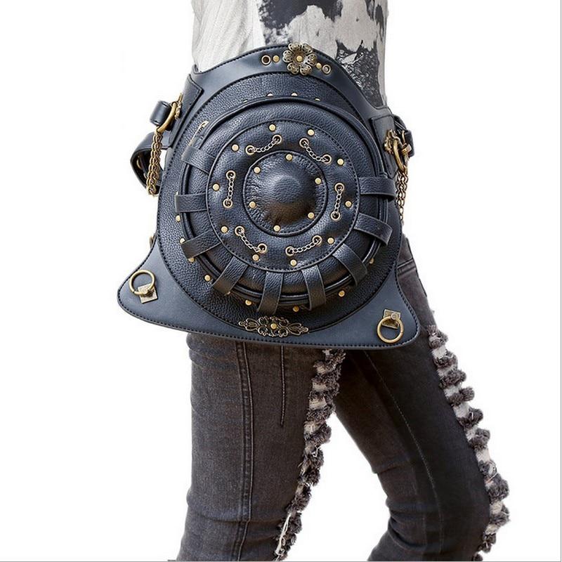 Backpack bags Round Shoulder Gag Gothic Waist Bag Black PU Leather Punk Retro Rock Bag Halloween 2017