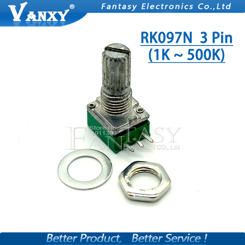 5pcs RK097N 5K 10K 20K 50K 100K 500K B5K With A Switch Audio 3pin Shaft 15mm  Amplifier Sealing Potentiometer