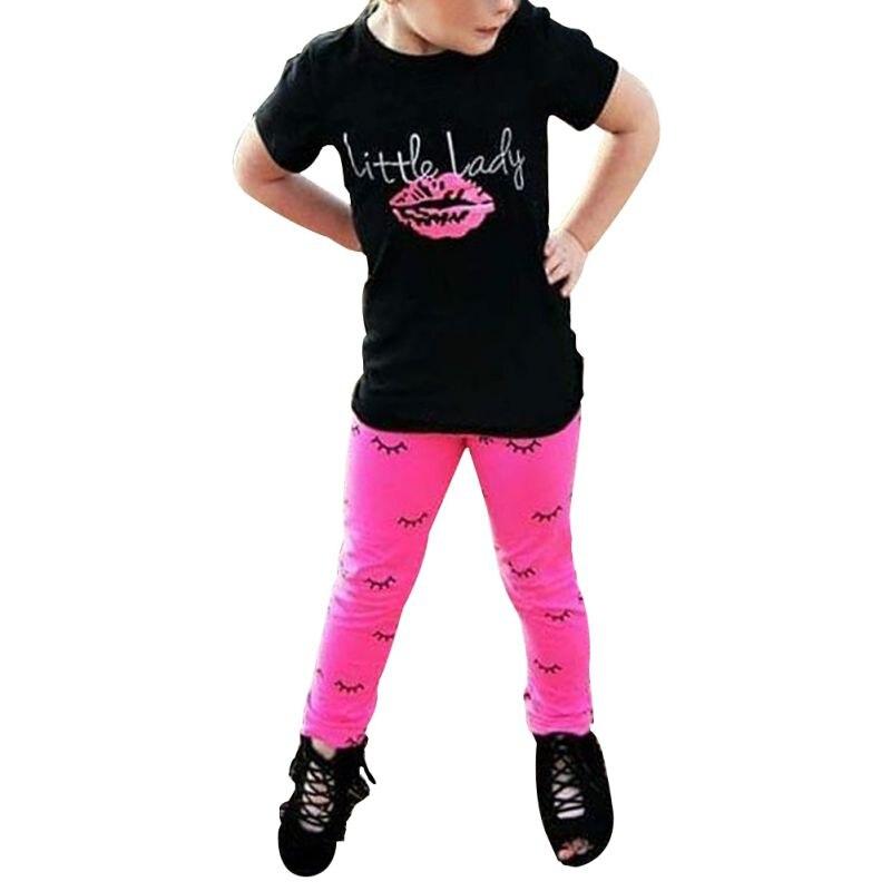 Autumn Toddler Kids Baby Girls Outfits Clothes T-shirt Tops Dress+Pants 2 PCS Set