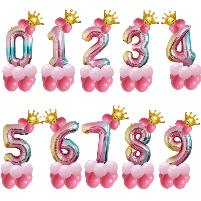 1 set 32inch Rainbow Crown Number Ballons Accessories 20th 30th 18th <font><b>50th</b></font> 60th <font><b>Birthday</b></font> Wedding Balloons Kit Baby Shower Decor image