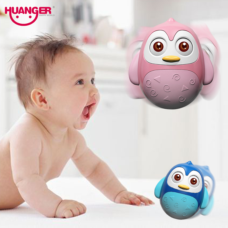 Huanger Baby Musical Roly Poly Toy Cartoon Tumbler Doll