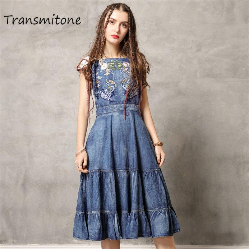 Été Denim broderie robe 2019 Vintage robes femme Slash cou sans manches broderie volants ourlet femmes robes 82139