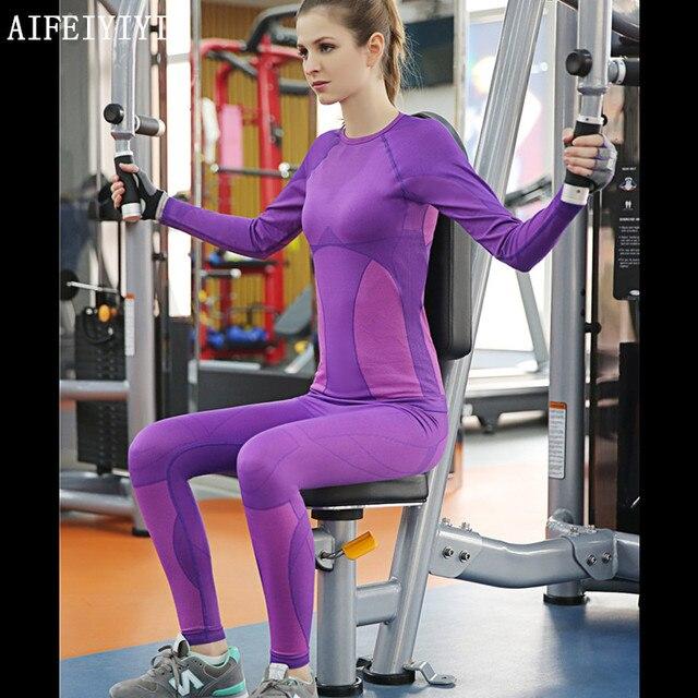 2019 Весна для женщин фитнес быстросохнущая сжатия термальность нижнее бельё для девочек комплект стрейч анти микробный теплый топ и Леггинс