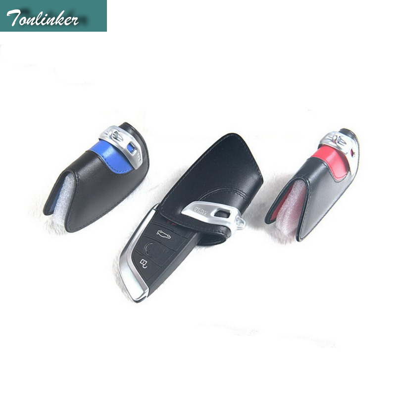 Tonlinker 1 PCS Car Leather Wallet Black Red Blue Key Cover Case For Bmw Leather Key