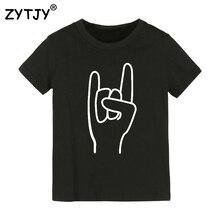 Детская футболка с принтом «Рокерская рука» футболка для мальчиков и девочек, одежда для малышей Забавные футболки, Прямая поставка, Y-41
