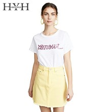 HYH Haoyihui Femme Summer Stylish Casual Tops Girls Simple Letter Printed Sequined Round Collar White Befree T-shirt Harajuku