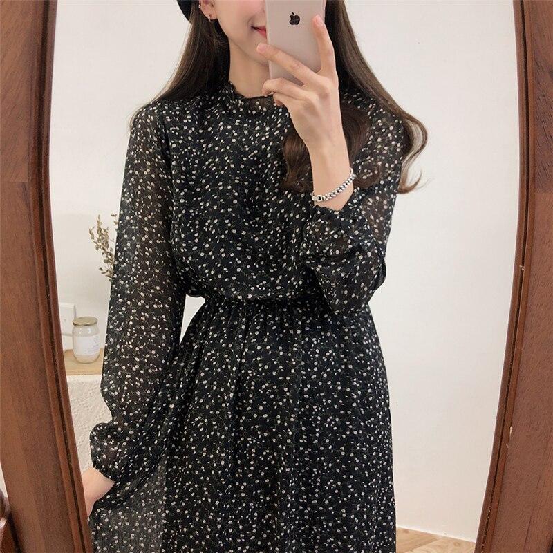 BGTEEVER Stand Collar Floral Print Women Dress Elegant Lantern Sleeve Female Long Dresses 2019 Elastic Waist Chiffon Vestidos