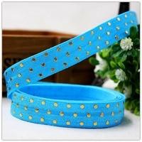 16 mm dot dot elastic ribbons 1 y free shipping 5/8 blue gold dot dot DIY clothing hair accessory material parts