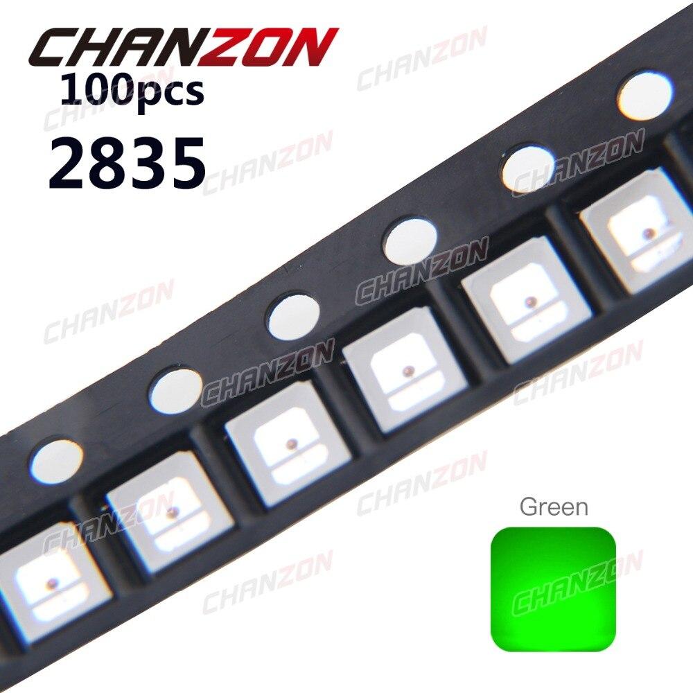 100pcs 2835 LED Chip Light Green High Brightness Surface Mount 30mA 3V SMT Light-Emitting Diode Bead Lamp Electronics Components