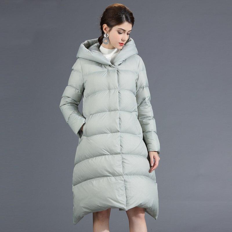 Qualité hiver bas manteaux femmes 2018 nouvelle mode Oversize canard vers le bas vestes à capuche longue lâche d'oie plume Parka femme veste